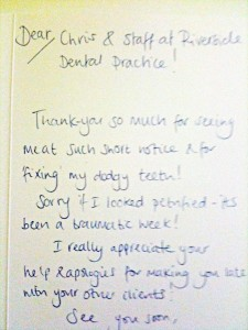 Testimonial from a happy customer at Riverside Dental Practice, Braunton, Devon