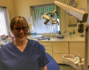 Sheila Davison hygienist at Riverside Dental practice Braunton, North Devon, UK, retires.