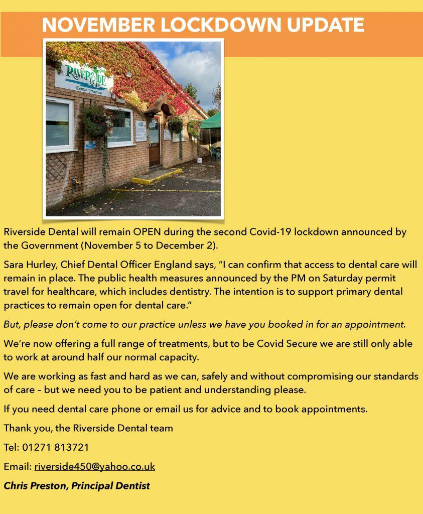 Riverside Dental practice Braunton - November 2020 lockdown update